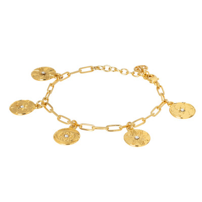 Bracciale placcato oro giallo con charms e cristalli Swarovski