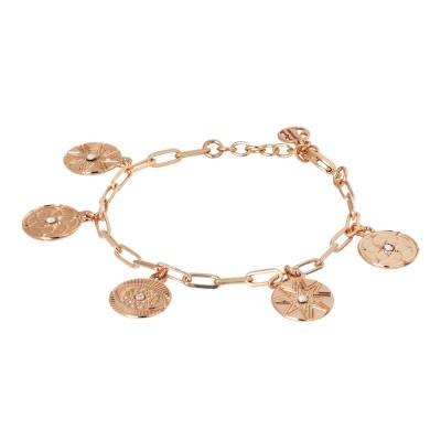 Bracciale placcato oro rosa con charms e cristalli Swarovski