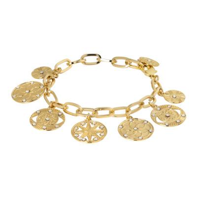 Bracciale placcato oro giallo maglia rettangolare con charms e cristalli Swarovski