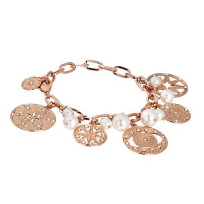 Bracciale placcato oro rosa con charms, cristalli e perle Swarovski