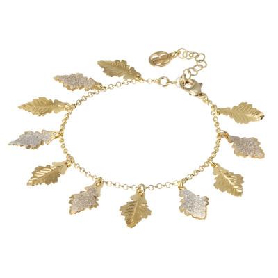 Bracciale placcato oro giallo con foglie di quercia