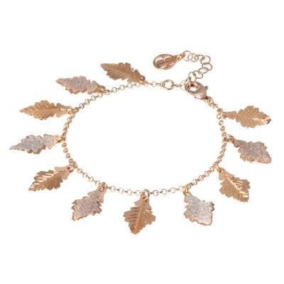 Bracciale placcato oro rosa con foglie di quercia
