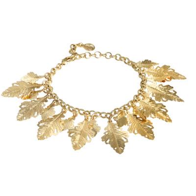 Bracciale placcato oro giallo con foglie di quercia pendenti
