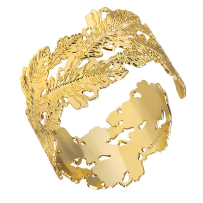 Bracciale rigido placcato oro giallo con decoro di foglie di quercia