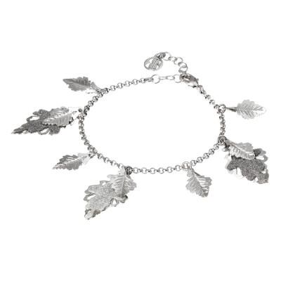 Bracciale rodiato con foglie pendenti lisce e glitterate