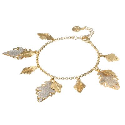 Bracciale placcato oro giallo con foglie pendenti lisce e glitterate