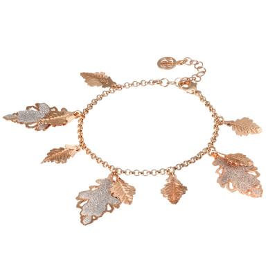 Bracciale placcato oro rosa con foglie pendenti lisce e glitterate