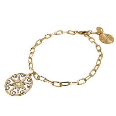 Breacciale catena placcato oro giallo con rosa dei venti e Swarovski
