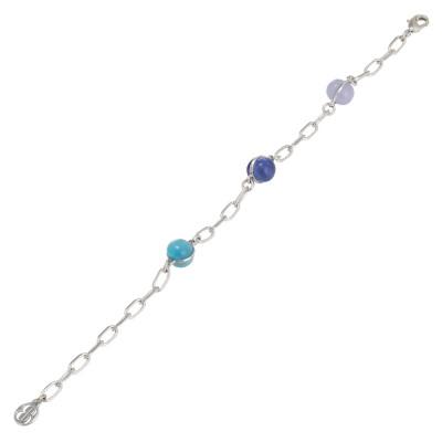 Bracciale a catena con cabochon blu, celeste e lilla
