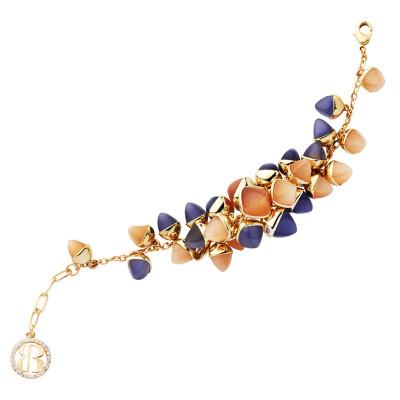 Bracciale con grappolo di cristalli color corniola, tanzanite e pietra di luna
