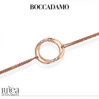 Bracciale doppio filo placcato oro rosa con decoro di Swarovski