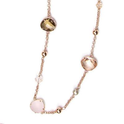 Collana lunga placcata oro rosa con cristalli briolette