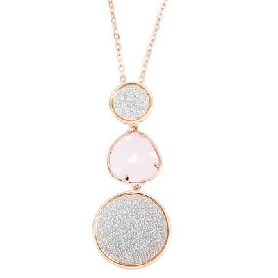 Collana con pendente glitterato e cristallo rosa