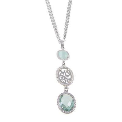 Collana con pendente dal motivo arabesco, zirconi e cristalli briolette colorati