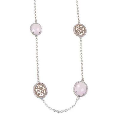 Collana lunga con cristalli briolette rosa e zirconi