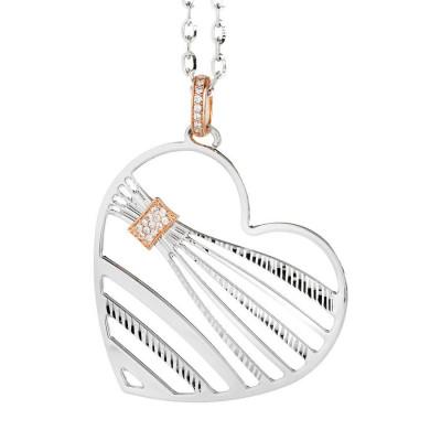 Collana con pendente a forma di cuore e zirconi