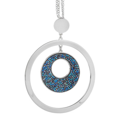 Collana con pendente concentrico in Swarovski crystal rock bermuda blu