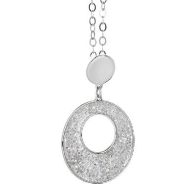 Collana con pendente circolare in Swarovski crystal rock