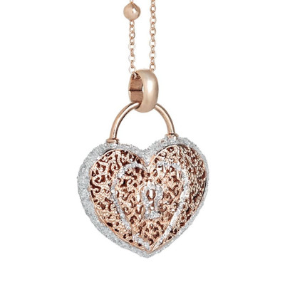 Collana rosata con cuore pendente e glitter
