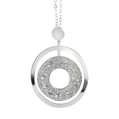 Collana lunga con pendente concentrico e superficie Swarovski galuchat silver