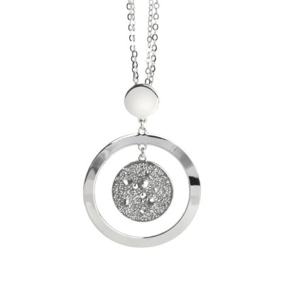 Collana con pendente concentrico e superficie Swarovski galuchat silver