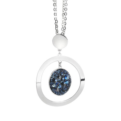 Collana con pendente concentrico e superficie Swarovski galuchat moonlight