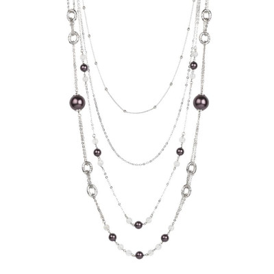Collana multifilo degradè con perle Swarovski burgundy