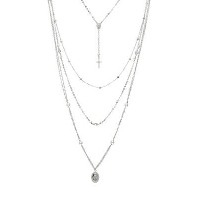 Collana multifilo con elementi sacri, perle e zirconi