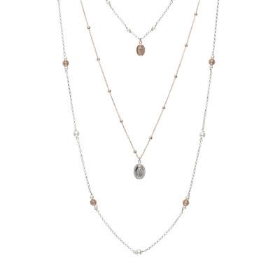 Collana multifilo bicolor con elementi sacri, sfere diamantate e zirconi