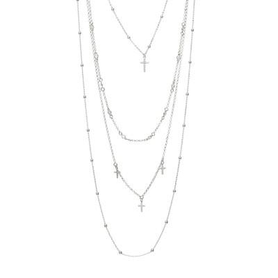 Collana multifilo con croci pendenti e zirconi incastonati