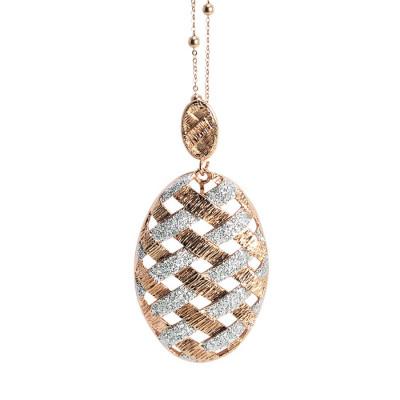 Collana rosata con pendente ovale e glitter silver