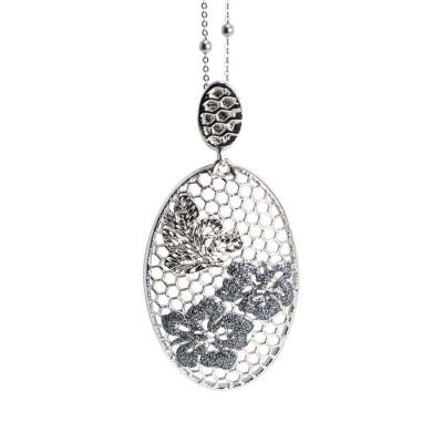 Collana con ovale dal decoro floreale e glitter black