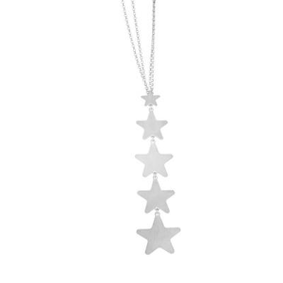 Collana scapolare rodiata con ciuffetto di stelle pendenti
