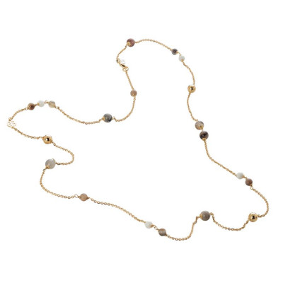Collana dorata con agata white e brown