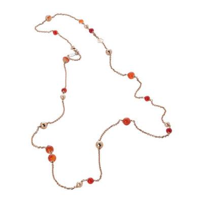 Collana rosata con perle Swarovski peach e agata orange
