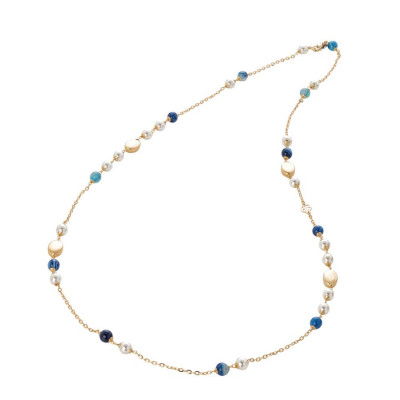 Collana con perle Swarovski white e  agata mix blue