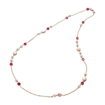 Collana con agata fucsia e perle Swarovski white