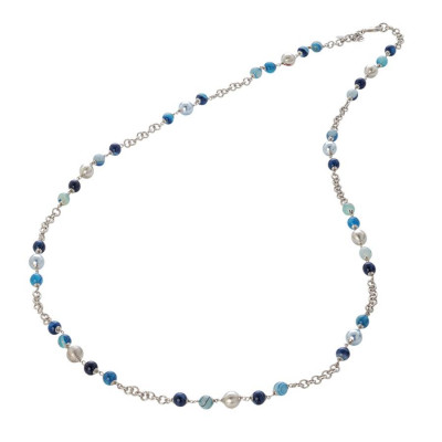 Collana con perle Swarovski light blue, agata mix blue e sfere graffiate