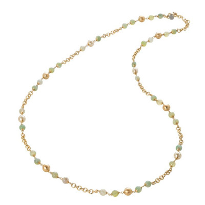 Collana con agata light yellow, perle Swarovski light gold e sfere graffiate