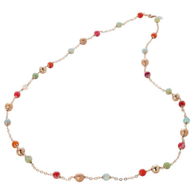 Collana con agata light yellow, orange, fucsia e celeste e sfere rosate