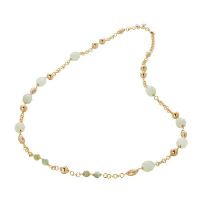 Collana dorata con agata jade torchon e light yellow