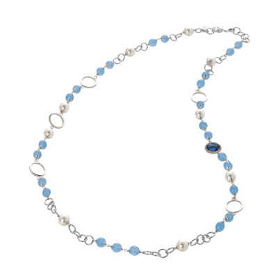 Collana con agata light blue, perle Swarovski e zirconi