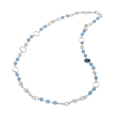 Collana con agata light blue, perle Swarovski e zirconi