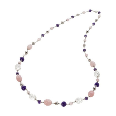 Collana con ametista, quarzo rosa torchon e cristallo di rocca