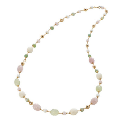 Collana con agata light yellow e white, quarzo rosa e torchon e agata jade torchon