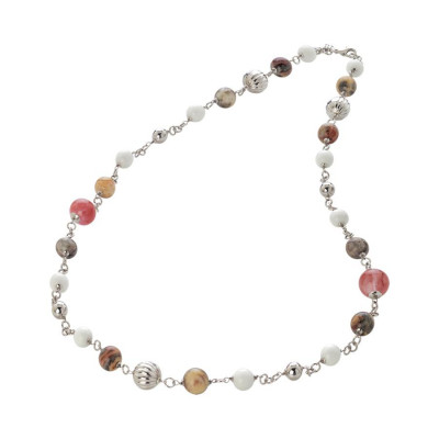 Collana con agata color fragola, crazy lace e white