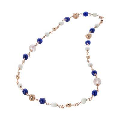 Collana con quarzo rosa, agata blue e white
