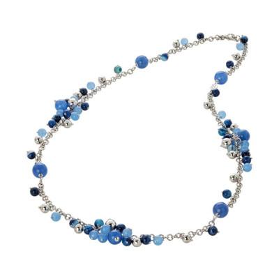 Collana con agata light blue, blue e mix blue
