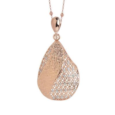 Collana placcata oro rosa con pendente in elettrofusione e glitter silver