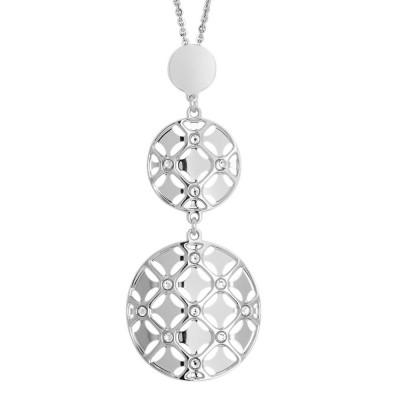 Collana con doppio pendente dal decoro in basso rilievo e cristalli Swarovski